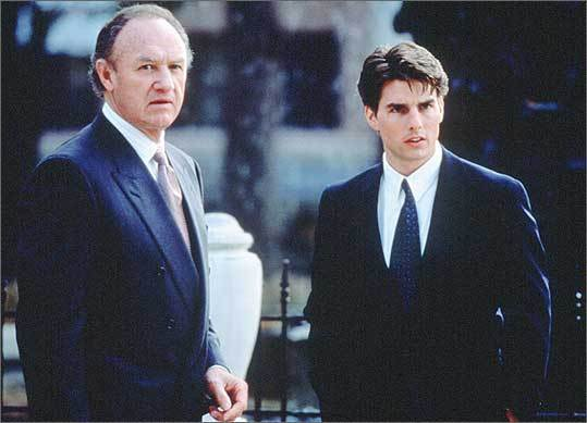 The Firm, 1993 Tom Cruise, right, plays a hotshot young lawyer in this John Grisham adaptation, in which he's headhunted by a sinister law firm right out of school. The filmmakers used establishing shots of Harvard taken from off-campus locations, as well as interiors in East Cambridge and the Copley Plaza Hotel. Pictured at left is Gene Hackman, who plays Cruise's mentor at the firm.