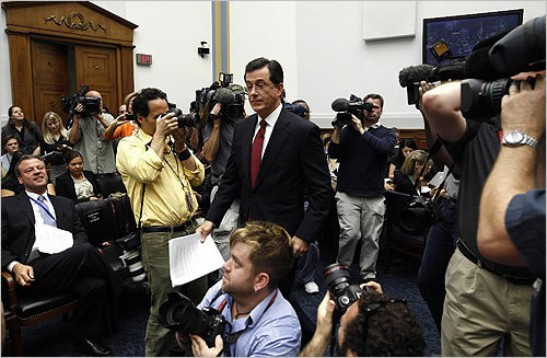 Colbert had barely taken a seat when US Representative John Conyers, Democrat of Michigan, asked him to leave.