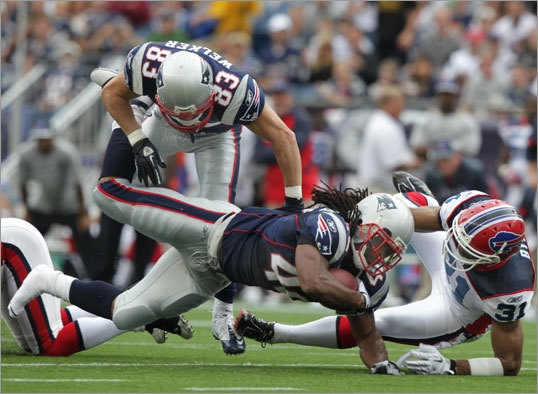 BenJarvus Green-Ellis gained 20 yards for the Patriots on this first-half run.