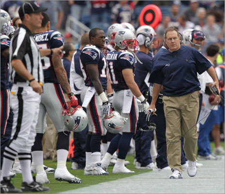 Patriots head coach Bill Belichick was upset on the sidelines after the Bills called two consecutive timeouts during the final seconds of the first half.