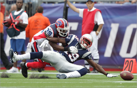 New England's Brandon Tate fumbled with defensive pressure from Buffalo's Drayton Florence in the second quarter.