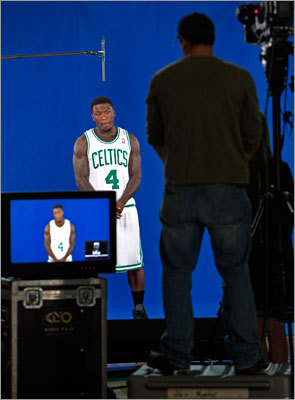Celtics guard Nate Robinson, who seemed more comfortable with his teammates entering his second season in Boston, taped a television spot.