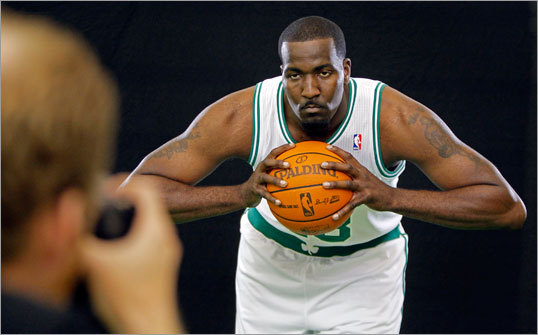 Kendrick Perkins put his game face on for an official photograph.