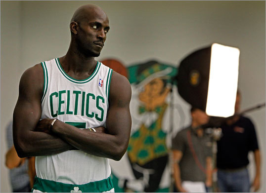 Kevin Garnett posed for official photos.