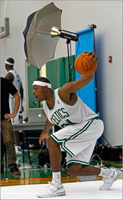 Paul Pierce had some fun with some exaggerated dribbling moves for the cameras.