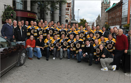 The Bruins began the European trip in Belfast, Northern Ireland, where they played against a team of United Kingdom all-stars and won 5-1. Bruins team photographer Brian Babineau provided shots from the trip, including this team photo outside the team's hotel, the Europa.