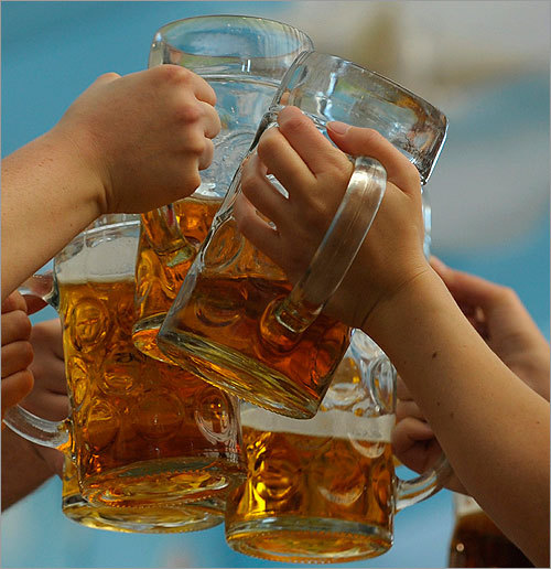 They love their beer in Prague. In fact, Czechs drink more beer per capita than any other country. In 2008, Czechs drank 155 liters of beer per capita, or about 41 gallons.