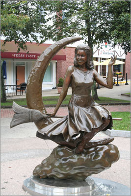 The Samantha statue, based on the character from the 1960s television show 'Bewitched,' is on Washington Street in Salem.