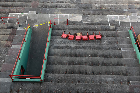 Work has begun on the final phase of improvements to Fenway Park, and the seats in the right-field lower seating bowl have all been removed. The improvements include concrete repair, waterproofing and seat replacement. The Red Sox will also install new video screens. Video: Lucchino on Fenway changes Extra Bases: Fenway Park improvements detailed