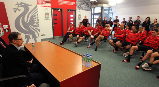 Henry addressed the Liverpool players at the team's Melwood Training Ground. ''We are going to do everything we can to support you to help you win in the pitch,'' Henry says to the assembled troops. ''To create an atmosphere of winning.''
