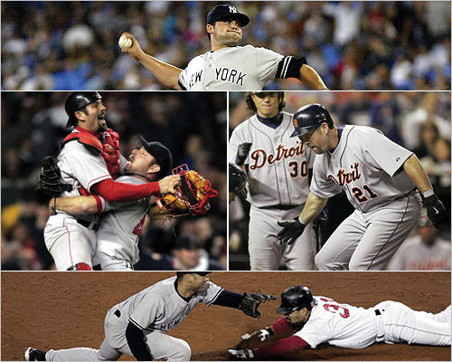 Unlike last year, the Yankees are headed home without the World Series trophy, having lost to the Texas Rangers 4-2 in the American League Championship Series. Whether you root for them or not (and we know how most of you feel), the Yankees manage to make even losing memorable. Here's a look at some of the squad's recent playoff exits, which feature performances that were dramatic, historic, and just plain weird.