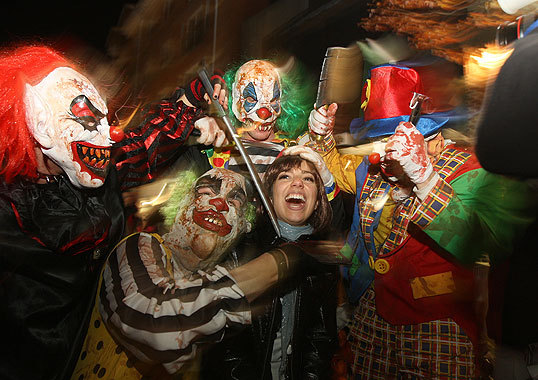 October 2008 Vanessa Beer (middle) of Boston was mobbed by an Insane Clown Possey costumed group from Seymour, Conn., on Halloween night.