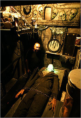 October 2001 Michael Arvilla, assistant manager of a haunted house in Salem, prepared for visitors.