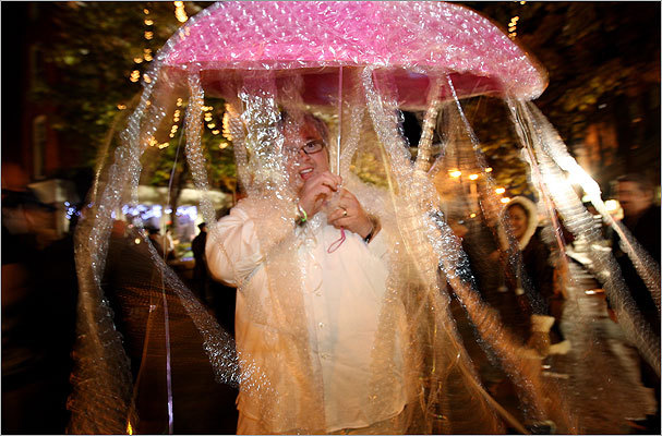 October 2008 Randal Kenney of Gloucester was dressed as a jellyfish on Halloween night at Salem.
