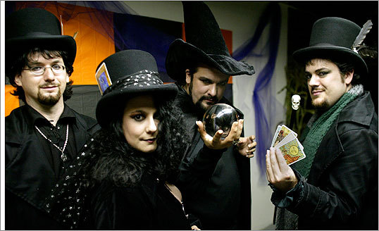 October 2005 The Salem Psychic Fair attracts hundreds of visitors every year. Salem first required fortune-tellers to receive a license to practice in April of 1930. Read the full story here . Pictured (from left) are Psychic Fair participants Nathaniel McManus, Leanne Marrama, Shawn Poirier, and Christian Day.