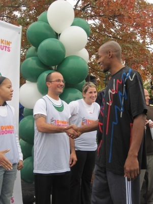 Boston Celtics All-Star guard Ray Allen came to Dunkin' Donuts on Lexington Street in Waltham on Monday to play a shoot-out game with five local fans. The fans were selected for being 'caught' with Dunkin' Donuts iced coffee as part of a new promotion the coffee franchise has started with the Celtics. See related video See related story