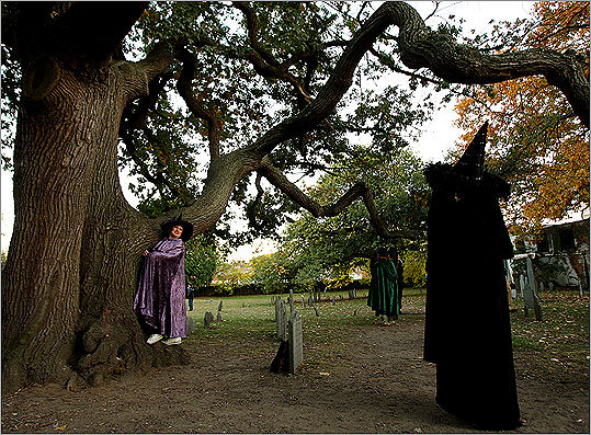 October 2008 Darleene Carr (right) photographed her sister Valerie next to a tree at the Burying Point, the oldest cemetery in Salem.