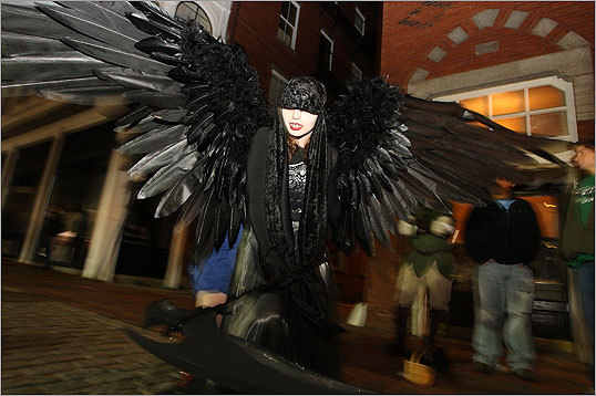 October 2008 Danielle Hurley dressed as the Angel of Death on Halloween night.