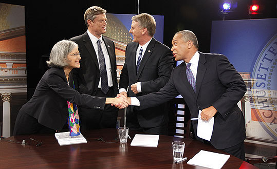 Gubernatorial candidates (from left) Jill Stein, Charles D. Baker, Timothy P. Cahill, and Governor Deval Patrick discussed the economy, taxes, and illegal immigration last night in a televised debate moderated by Charles Gibson.