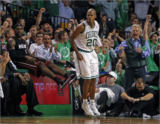 Ray Allen was walking on air after he hit a 3-pointer with less than a minute to play to put Boston ahead 86-80 and seal the Celtics' victory. Miami's LeBron James defended Allen on the play, but his momentum carried him out of bounds.