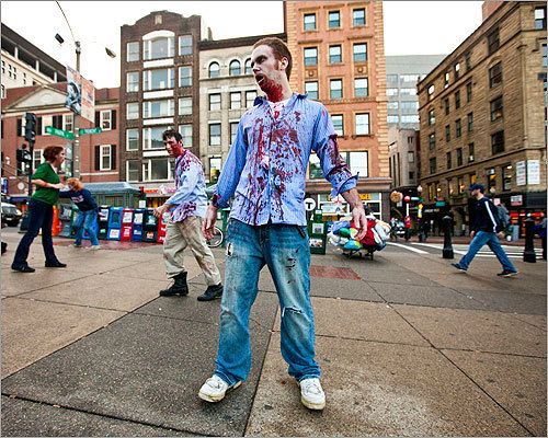 A number of the zombies found their way to the Park Street station entrance.