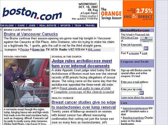 2002 As the Globe Spotlight team wrote stories beginning in January 2002 about the priest sexual abuse scandal -- winning them the Pulitzer Prize in 2003 -- Boston.com featured the investigative pieces on the homepage.