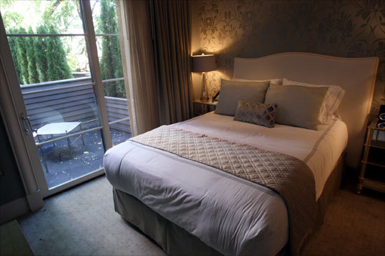The 31 rooms at the Hotel Veritas average 200 square feet.