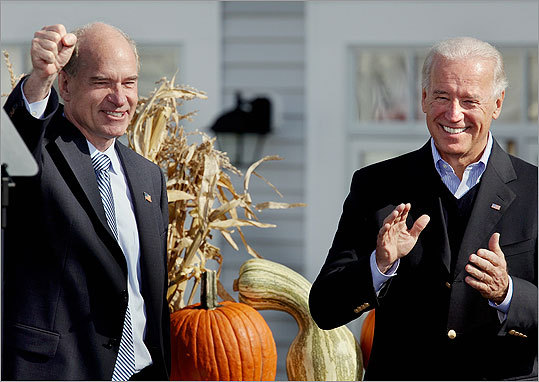 Vice President Joe Biden (right) was on hand Saturday in Quincy to rally for Democrat William R. Keating, who is a candidate in the 10th Congressional District.