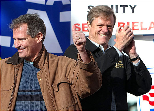 Senator Scott Brown (left) got the crowd going at a Saturday campaign stop in Foxborough for Baker.