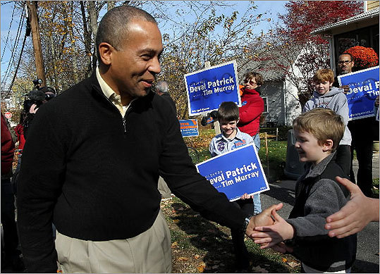 On Saturday, Governor Deval Patrick spoke at a get-out-the-vote event in the back yard of a home in Natick.