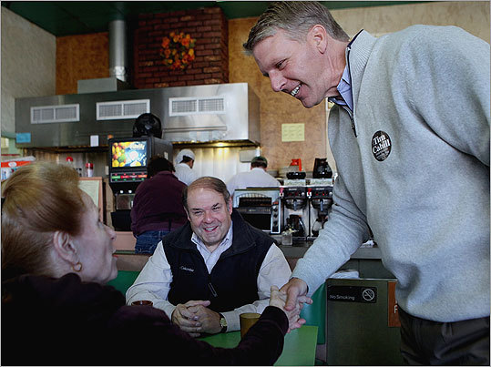 Cahill met patrons Judy and John Scott at Tresca's Eating Place in Watertown on Saturday.
