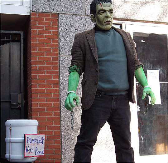October 2010 Saving up to buy some brains, Frankenstein posed with Halloween enthusiasts.