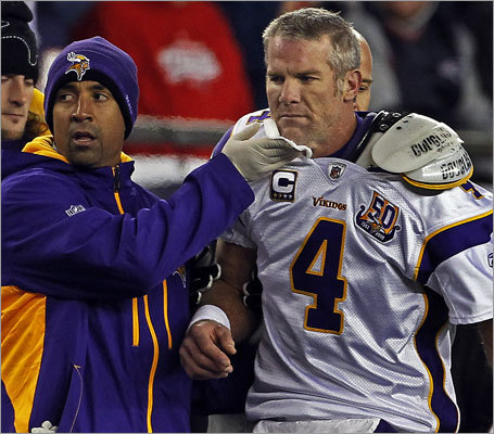 The pregame talk centered on whether Vikings quarterback Brett Favre would make his 292d consecutive start. He did, but he was unable to finish after a hit from Patriots defensive lineman Myron Pryor bloodied his chin.