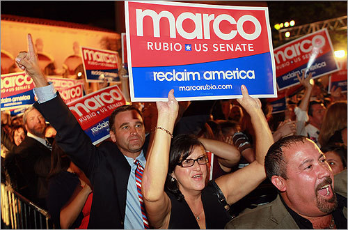 Supporters of Marco Rubio cheered as a television network announced he will win in his race for Florida's Senate seat during his 'Reclaim America Victory Celebration' at the Biltmore Hotel in Coral Gables, Fla.
