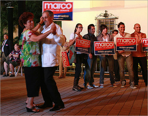 Supporters of Marco Rubio danced as they waited for him to deliver his victory speech after he was declared the winner of the race for Florida's vacant Senate seat. Rubio defeated Florida Governor Charlie Crist, who ran as an independent, and Democratic Representative Kendrick Meek.