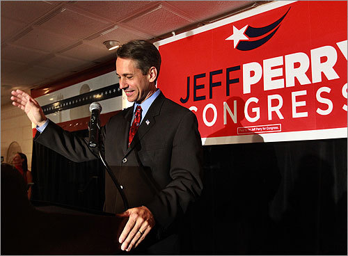 Jeff Perry, the Republican candidate for Congress in the 10th District, delivered his concession speech to supporters in Hyannis.