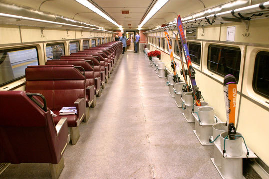 BEST TRAIN-IN RUNS: Wachusett, Mass. Avoid driving hassles and earn points for eco sensitivity by taking Wachusett's ski train, departing Boston's North Station on Saturdays and Sundays from Dec. 12 through March - 28. 978-464-2300, www.wachusett.com