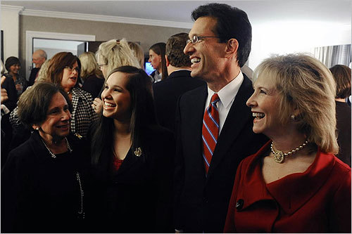 Cantor talked with volunteers with his family at his side at the Hilton Richmond Hotel & Spa in Richmond, Va.