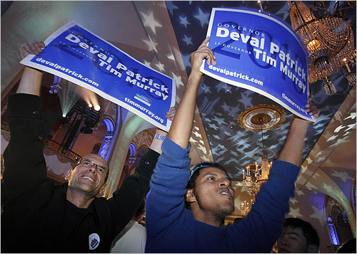 From left, David Flaschenriem of Boston and Jose Briceno of Cambridge celebrated Patrick's victory.