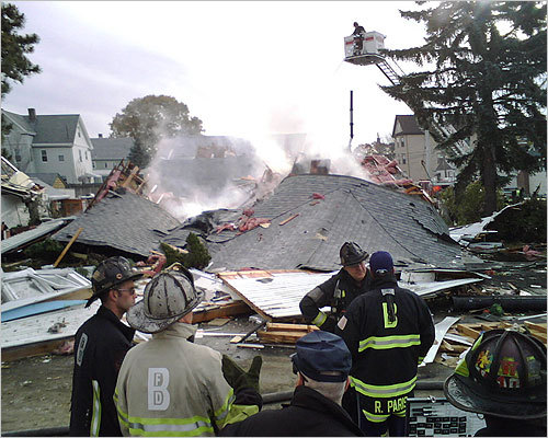 A contractor working for the Boston Water and Sewer Commission cut into a main gas line this morning, causing gas to seep inside a Readville home where it detonated and triggered an explosion at the house and the evacuation of 40 homes. Scroll through to see scenes from the explosion's aftermath. Read the article.