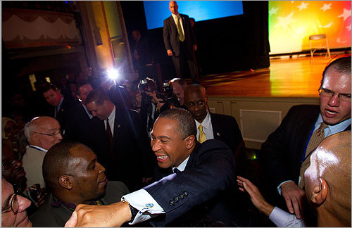 Governor Deval Patrick celebrated his reelection victory with thousands of supporters at the Park Plaza Hotel.
