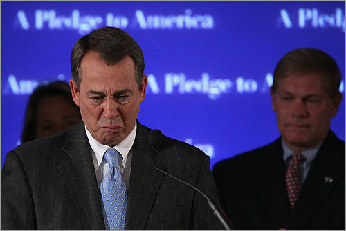 Boehner became emotional as he addressed supporters. 'The American people's voice was heard at the ballot box,' he told them.