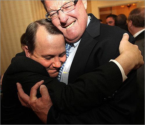 Lieutenant Governor Tim Murray was hugged by AFL-CIO President Bob Haynes.