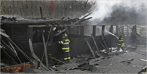 A fire destroyed a barn in Sharon on Wednesday morning and killed nine horses, the Sharon Fire Department said. The fire did not seem suspicious and no people were injured. Scroll through to see scenes from the barn fire. Read the article.