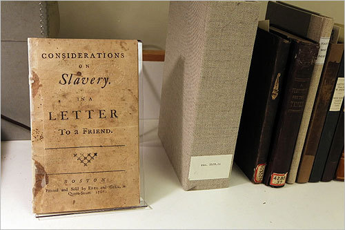 For more than a century, a vast trove of letters, newspapers, books, and pamphlets from Weymouth's Weston sisters, who formed the Boston Female Anti-Slavery Society to rally for the abolition of slavery, was kept at the Boston Public Library. Thanks to a $600,000 anonymous pledge, the collection is being preserved and made available for the first time over the Web. Scroll through to see book conservators at work on the collection. Read the article.