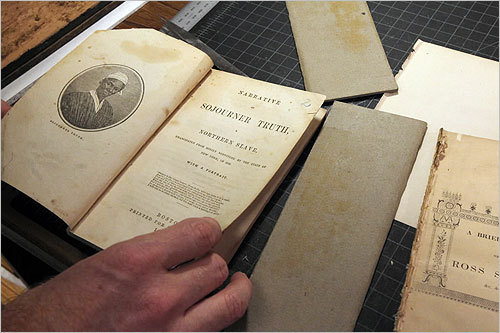 Author Marilyn Johnson said the documents are 'a gold mine for those who care about how women fought for a voice in the shaping of this country.' In this photo, a copy of the book 'Narrative of Sojourner Truth, a Northern Slave.'