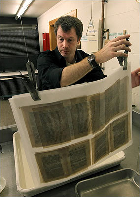 The documents are being scanned and uploaded onto several websites, such as BPL's website and Flickr. In this photo, assistant book conservator Chris Letizia washed pages while restoring the archive of the Weston sisters of Weymouth.