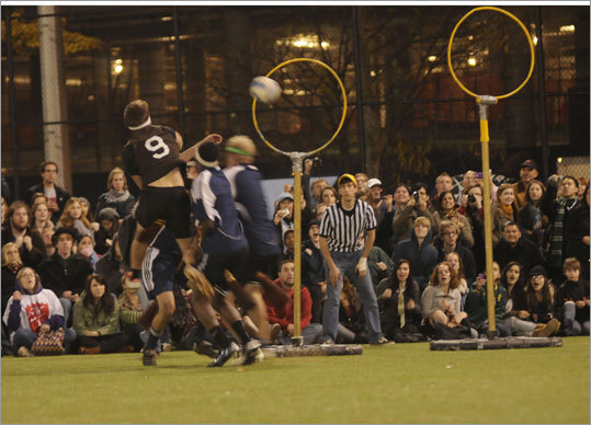 Tufts' chaser makes a goal against Middlebury in the final.