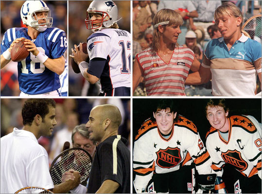 Sports rivalries are the stuff of great debates from the water cooler to the bedroom, and one of football's great showdowns was renewed on Sunday when Tom Brady's Patriots faced the Peyton Manning-led Colts. Here's a review of some of the great matchups in sports history, in no particular order. Let the arguments begin.