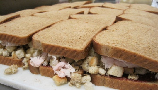The turkey sandwiches are a favorite with customers, and Gerard's usually sells about 200 a day, said Amle. The sandwiches are made with Canadian bread, cranberry sauce, turkey, stuffing and mayonnaise.